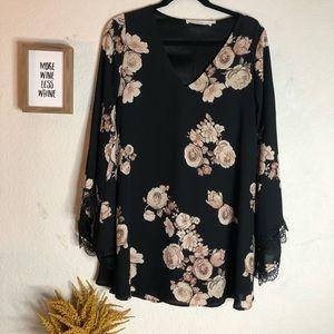 ASTR Floral Long Sleeve Mini Dress Size XS